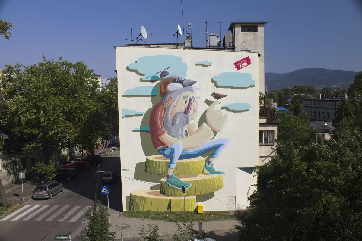 Mural z frasobliwym franciszkiem bielsko bia a for Mural z papiezem franciszkiem